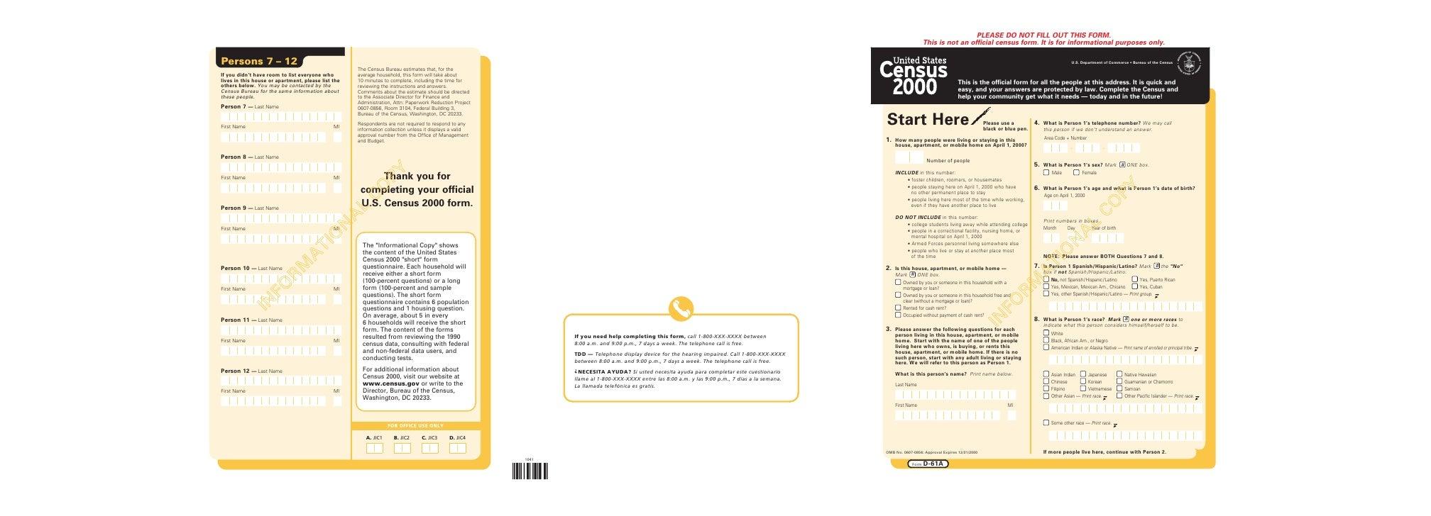 US Census 2000 Short Form