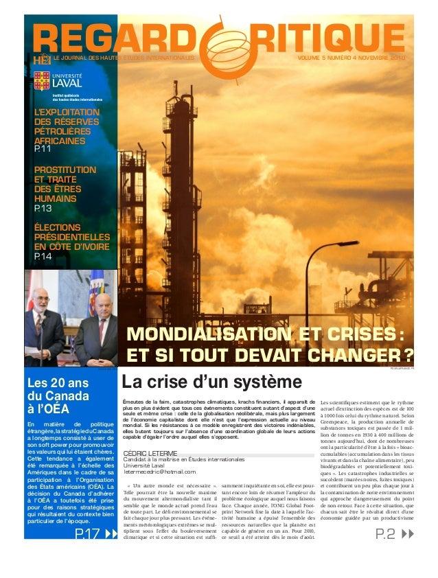 LE JOURNAL DES HAUTES ÉTUDES INTERNATIONALES VOLUME 5 NUMÉRO 4 NOVEMBRE 2010 En matière de politique étrangère,lastratégie...