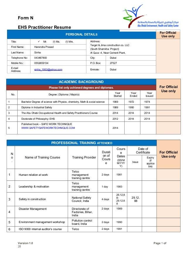 H P Sinha Form Ehs Practitioner Resume