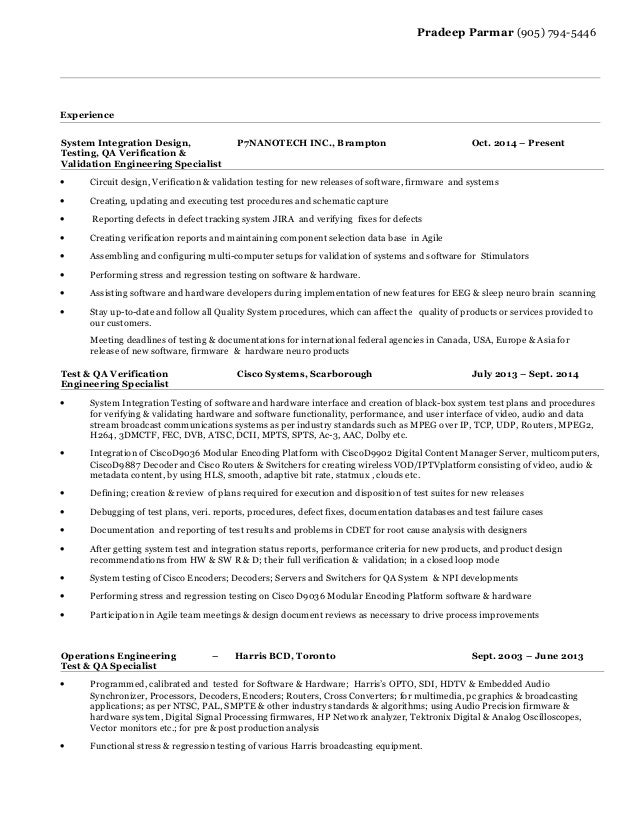 resume for system integration design testing qa