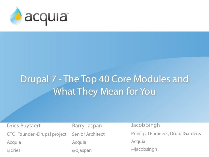 Drupal 7 - The Top 40 Core Modules and What They Mean for You