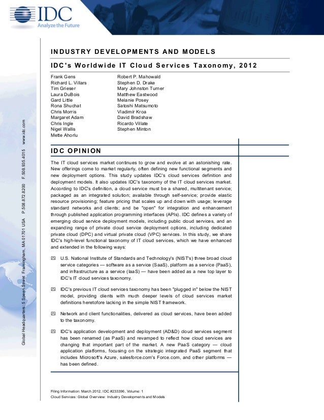 INDUSTRY DEVELOPMENTS AND MODELS                                                               IDCs Worldwide IT Cloud Ser...