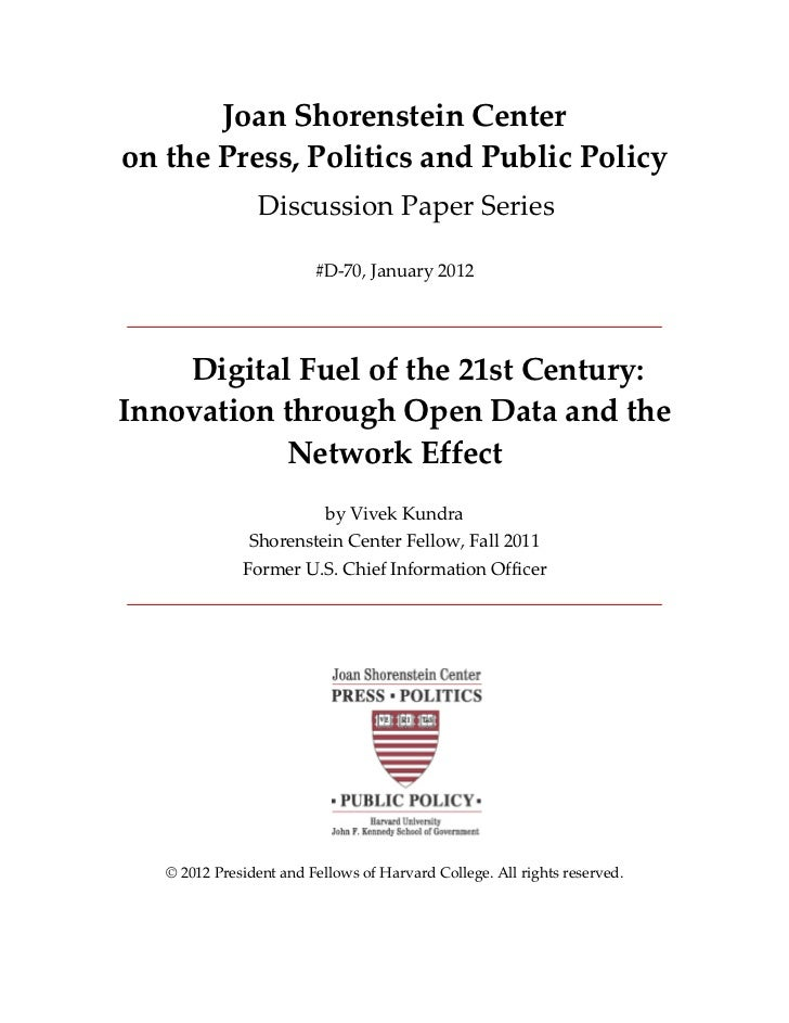 Digital Fuel of the 21st Century: Innovation through Open Data and the Network Effect