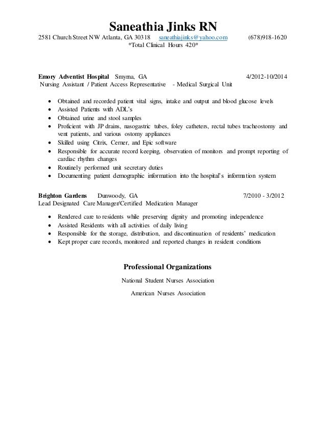 medical surgical nurse resume