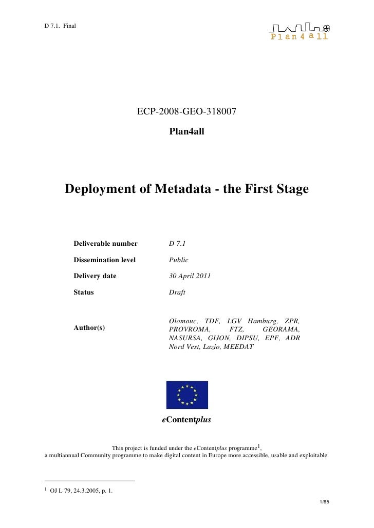 D7.1 Metadata Deployment Stage 1