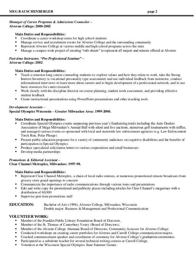graduate admissions counselor resume    graduate program