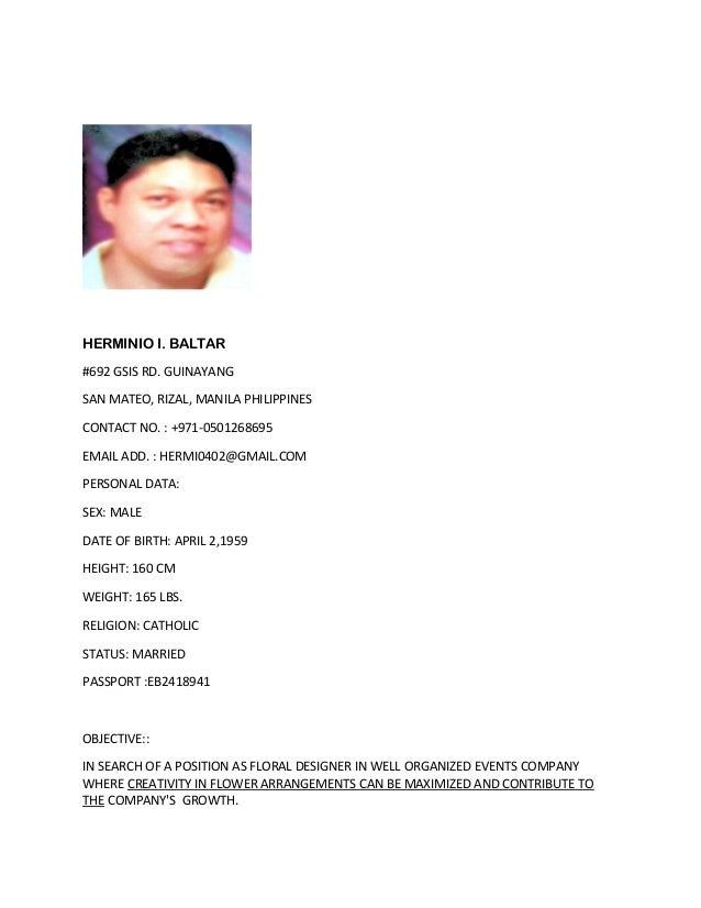 HERMINIO I. BALTAR #692 GSIS RD. GUINAYANG SAN MATEO, RIZAL, MANILA PHILIPPINES CONTACT NO. : +971-0501268695 EMAIL ADD. :...