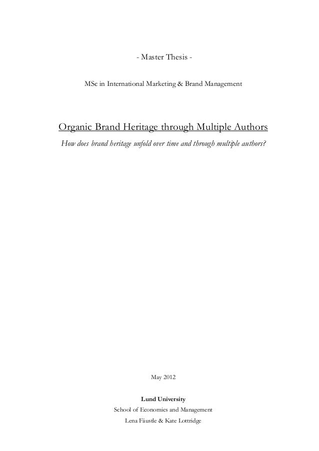 Master thesis brand management