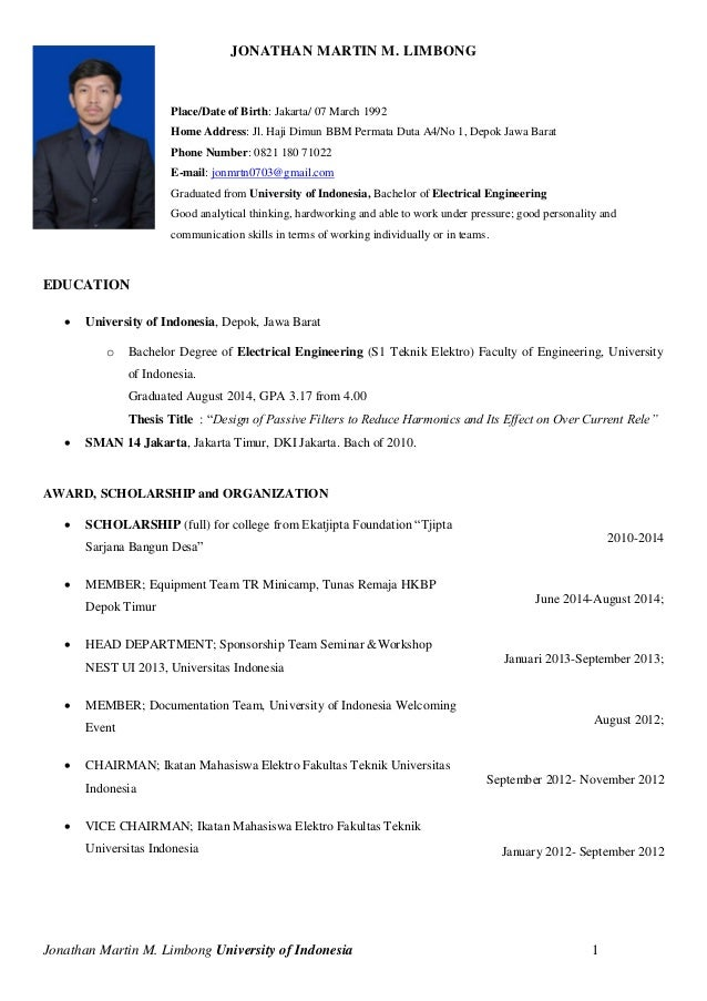 CV Jonathan Martin M, Teknik Elektro, Universitas Indonesia