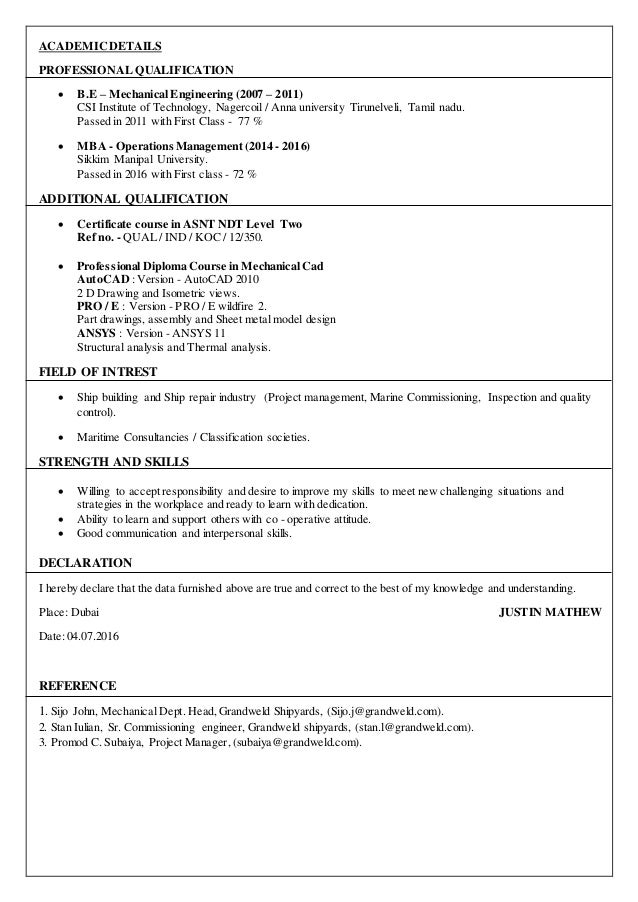 resume justin mathew - mechanical test