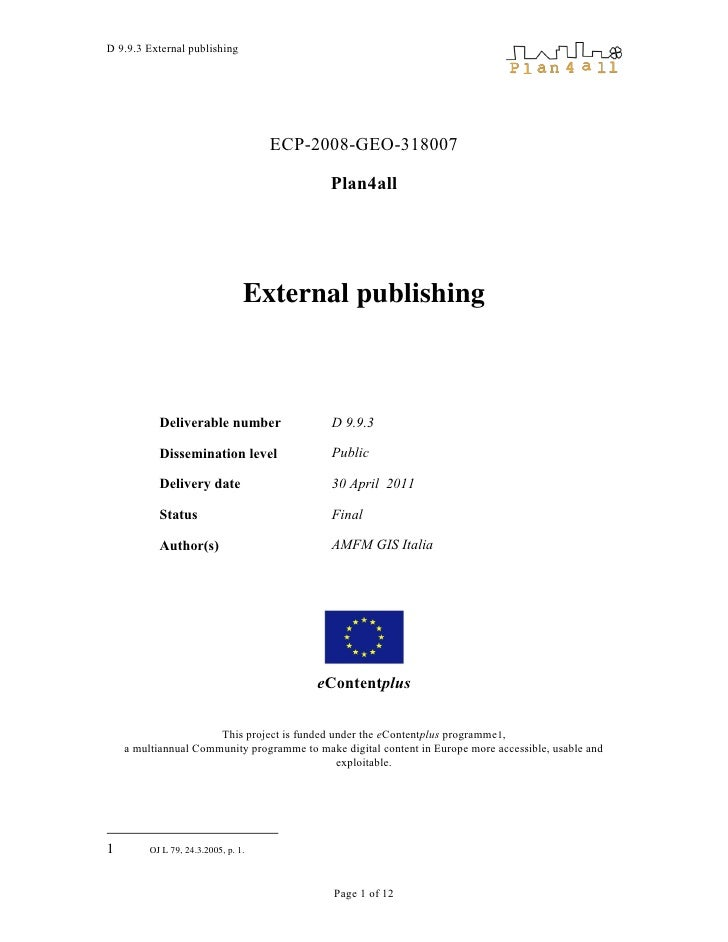 D 9.9.3 External publishing                                     ECP-2008-GEO-318007                                       ...