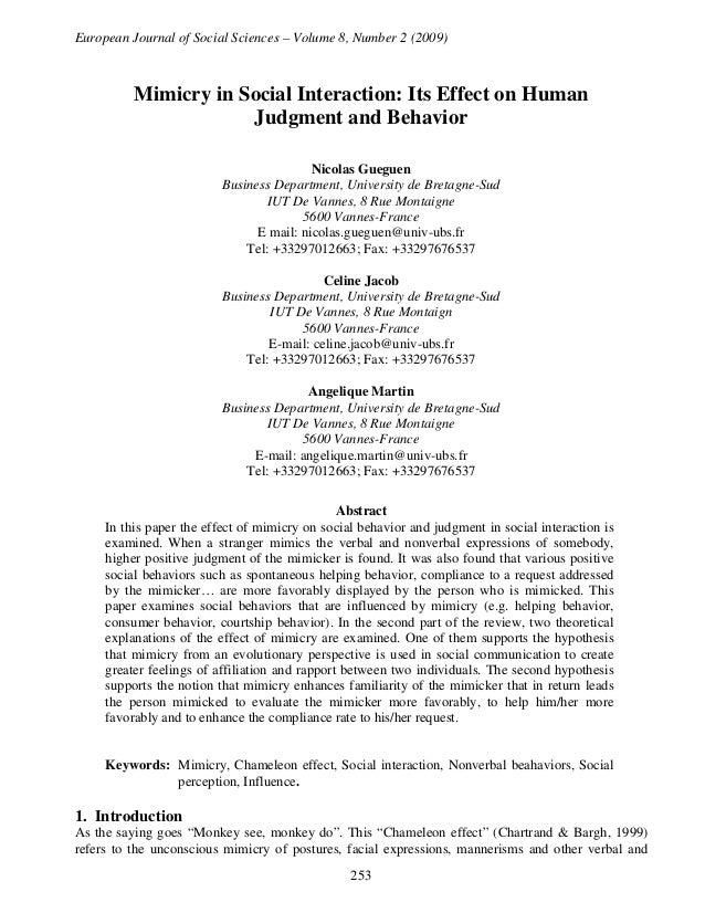 European Journal of Social Sciences – Volume 8, Number 2 (2009)  Mimicry in Social Interaction: Its Effect on Human Judgme...
