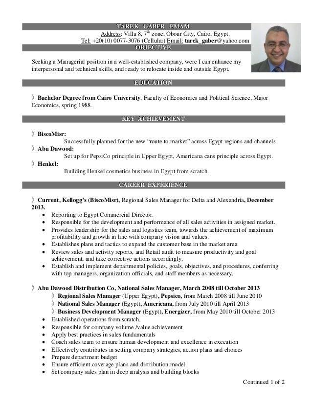 Resume For Villa Manager Continued 1 of 2 TTTAAARRREEEKKK GGGAAABBBEEERRR EEEMMMAAAMMM Address: Villa 8, 7th zone, ...