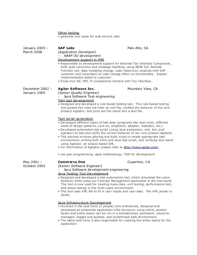 Xml resume example
