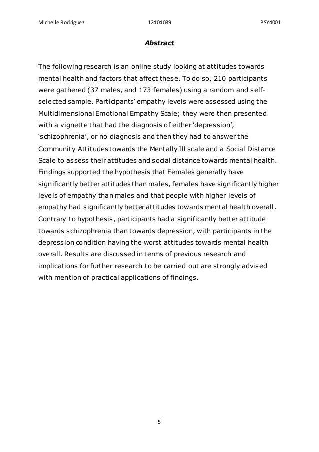 Dissertation and mental health