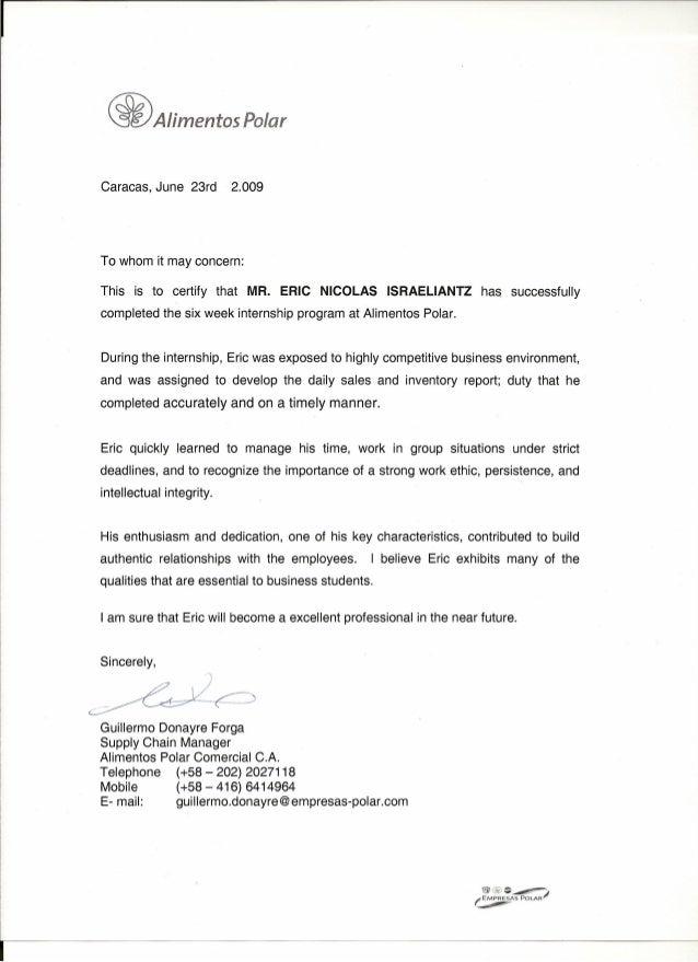 Internship Letter Of Recommendation Recommendation Letter For
