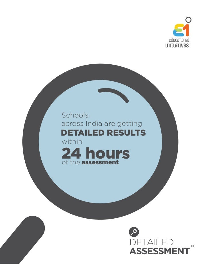 Schoolsacross India are gettingDETAILED RESULTSwithin24assessmentof the       hours                    DETAILED   EI      ...