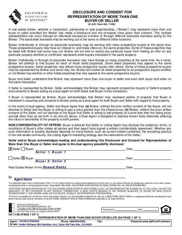 Da   disc. and consent for repres. of more than one buyer or seller - 1106