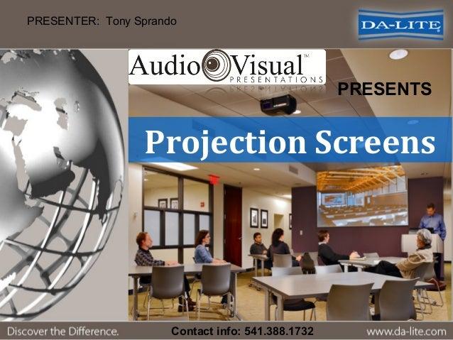 Projection Screens PRESENTER: Tony Sprando PRESENTS Contact info: 541.388.1732