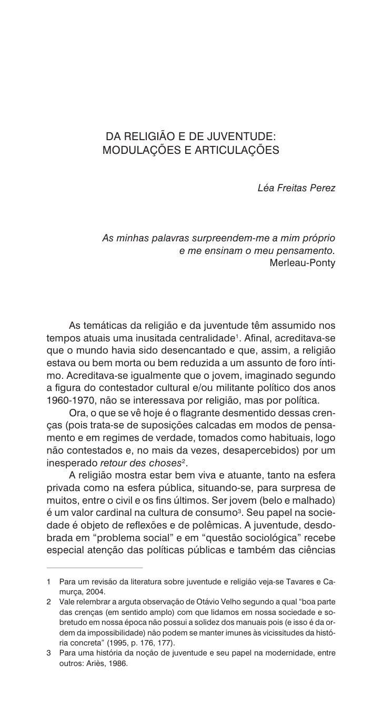 DA RELIGIÃO E DE JUVENTUDE:                 MODULAÇÕES E ARTICULAÇÕES                                                     ...