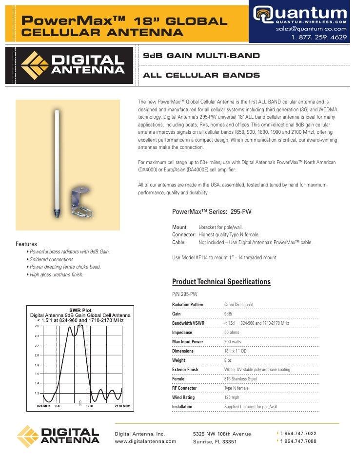 "PowerMax™ 18"" GLOBAL   CELLULAR ANTENNA                                                           9dB GAIN MULTI-BAND     ..."