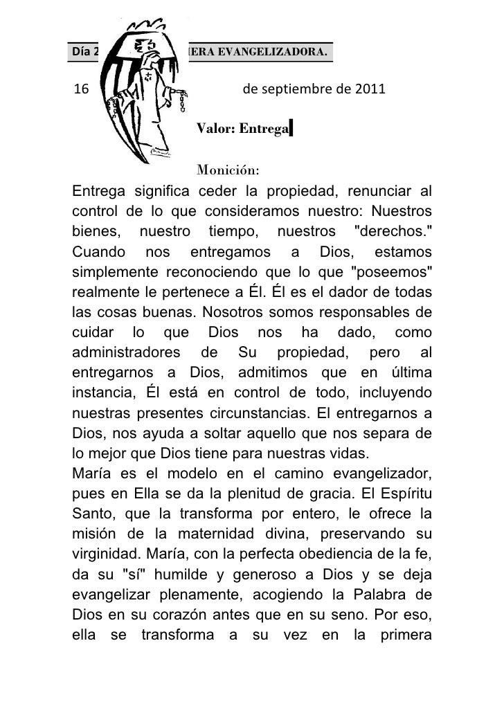 Día 2º. MARÍA, PRIMERA EVANGELIZADORA.16                        de septiembre de 2011                  Valor: Entrega     ...