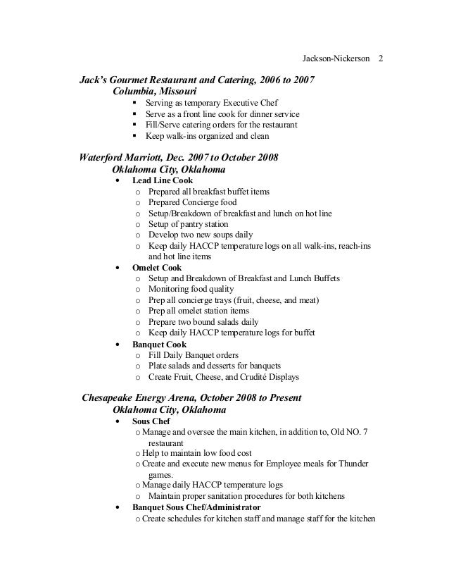 Grill cook sample resume