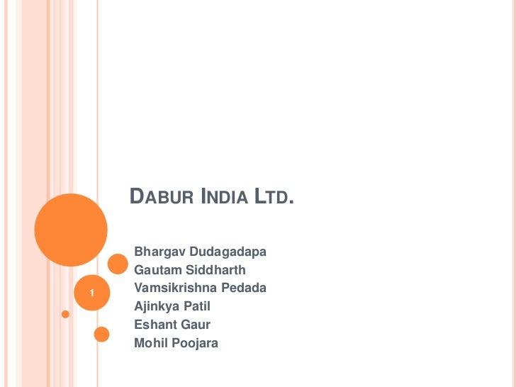 DABUR INDIA LTD.    Bhargav Dudagadapa    Gautam Siddharth1   Vamsikrishna Pedada    Ajinkya Patil    Eshant Gaur    Mohil...