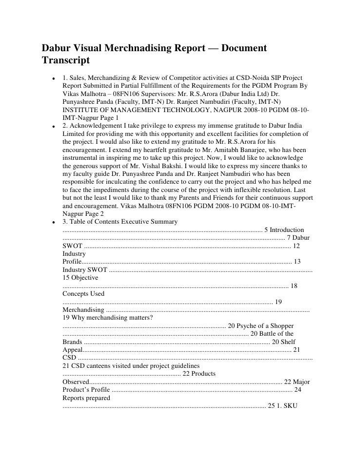 Dabur Visual Merchnadising Report — DocumentTranscript    1. Sales, Merchandizing & Review of Competitor activities at CSD...