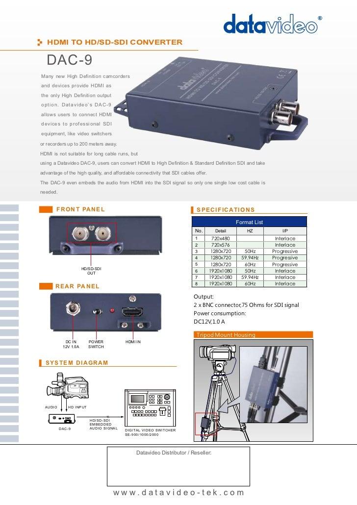 HDMI to HD/SD-SDI Converter          DAC-9    Quick Start Guide    www.datavideo-tek.com            Rev 240409