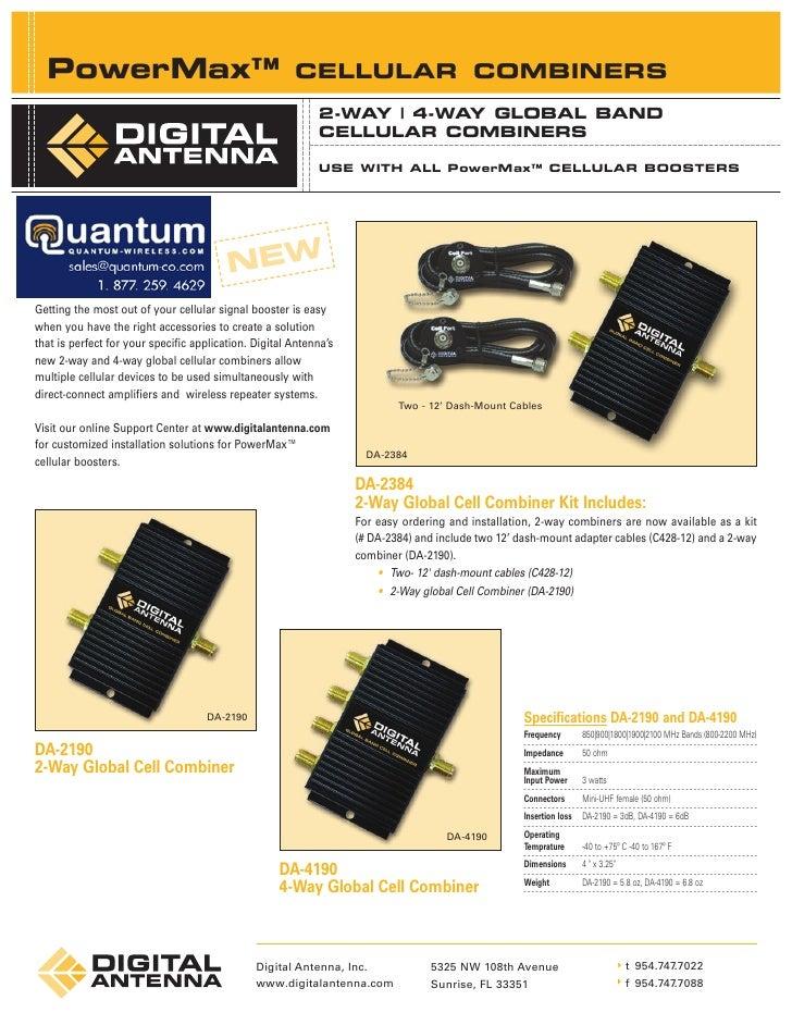 Digital Antenna PowerMax Cellular 4-Way Combiner (DA-4190)