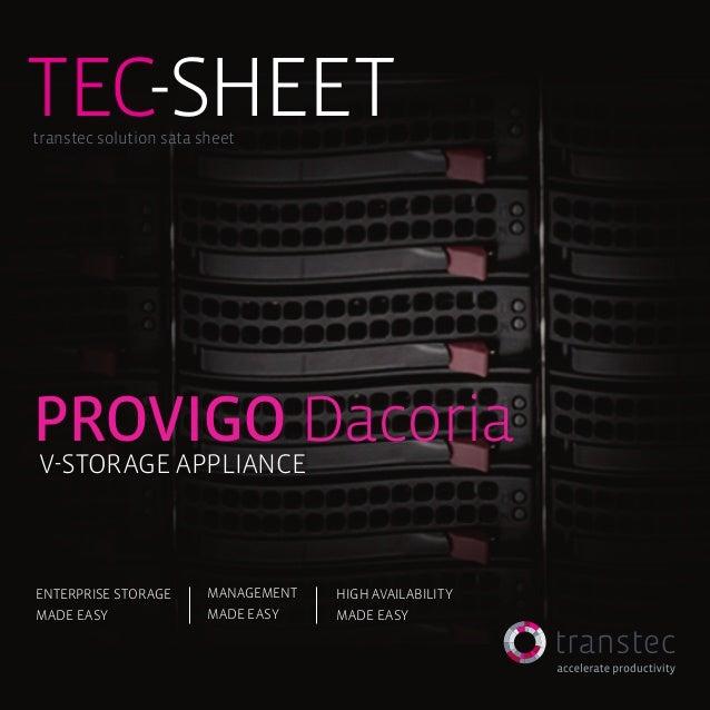tec-SHEETtranstec solution sata sheetProvigo DacoriaV-Storage ApplianceEnterprise Storage      Management   High availabil...