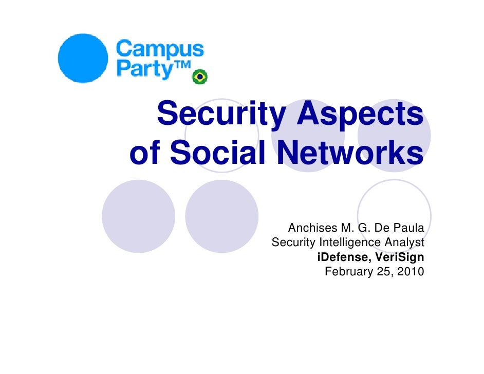 Security Aspects of Social Networks            Anchises M. G. De Paula         Security Intelligence Analyst              ...