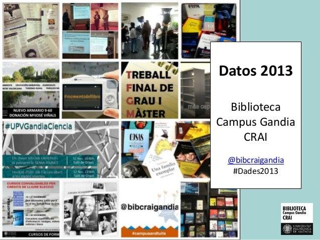 Datos 2013 Biblioteca Campus Gandia CRAI @bibcraigandia #Dades2013