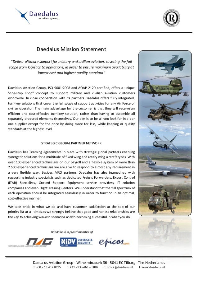 """Daedalus Mission Statement """"Deliver ultimate support for military and civilian aviation, covering the full scope from logi..."""