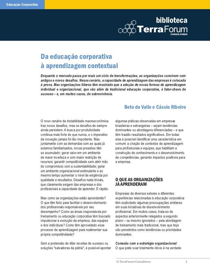 Da Educação Corporativa à Aprendizagem Contextual | Valle + Ribeiro | TerraForum