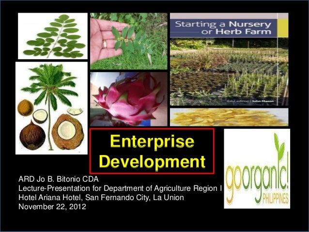 Enterprise                       DevelopmentARD Jo B. Bitonio CDALecture-Presentation for Department of Agriculture Region...