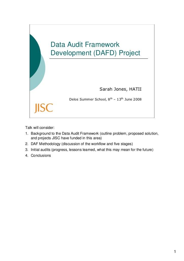 Data Audit Framework                 Development (DAFD) Project                                                   Sarah Jo...