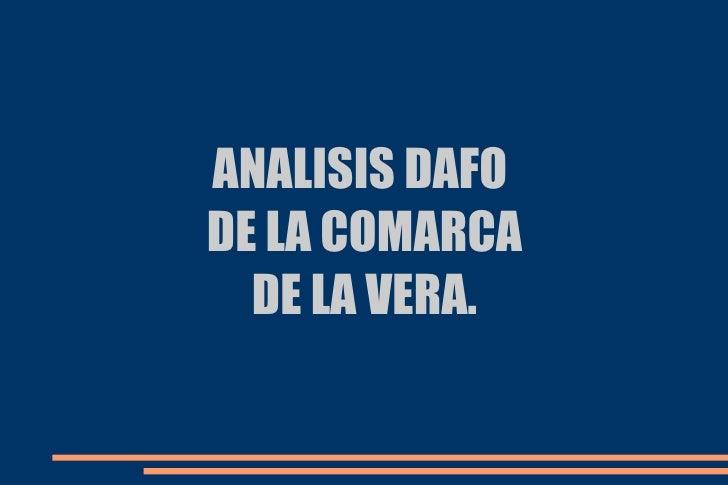 ANALISIS DAFODE LA COMARCA  DE LA VERA.