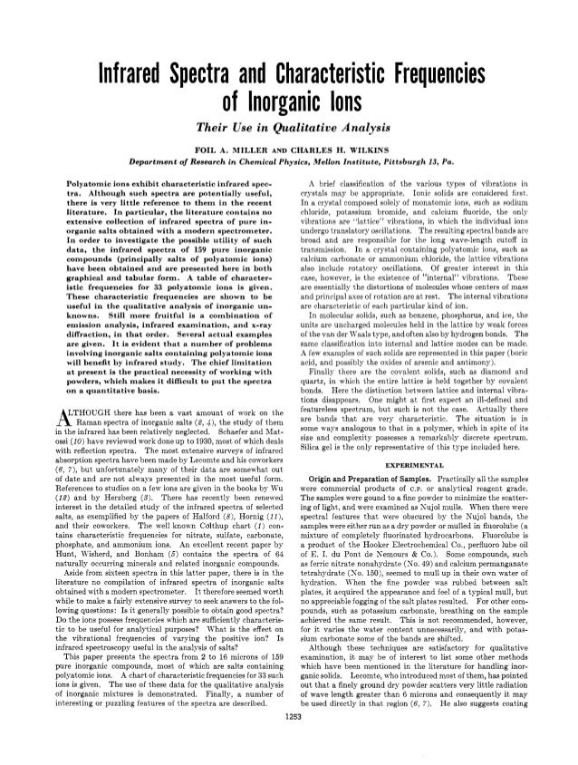 Infrared Spectra and Characteristic Frequencies                            of Inorganic Ions                              ...