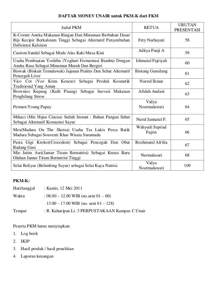 Daftar monev universitas pkm dikti 2011