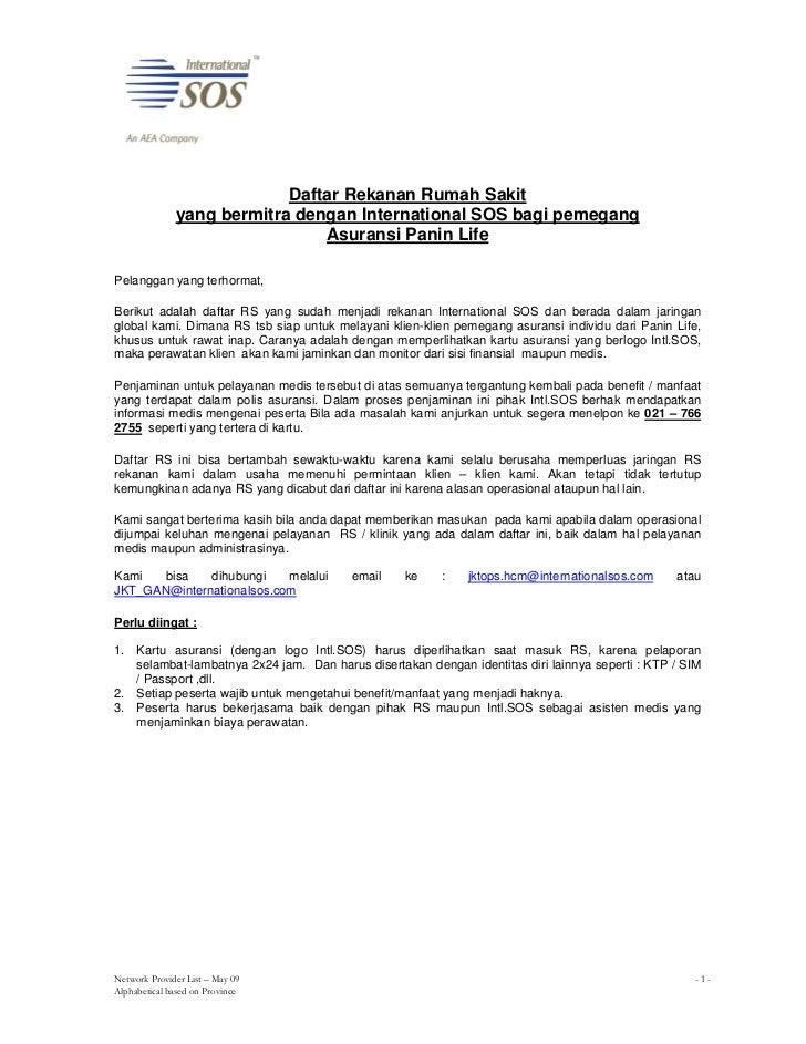 Daftar Rekanan Rumah Sakit           yang bermitra dengan International SOS bagi pemegang                            Asura...