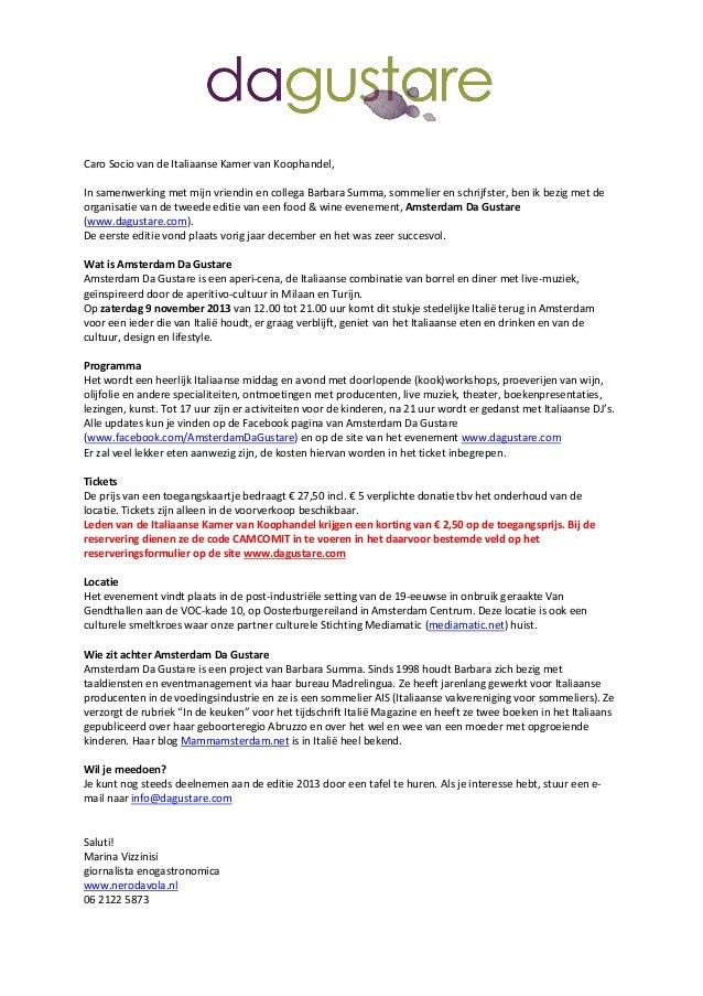 Amsterdam Da Gustare 2013  - algemene informatie leden italiaanse kamer van koophandel