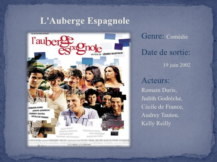 L'Auberge Espagnole   <ul><li>Genre:  Comédie </li></ul><ul><li>Date de sortie:  19 juin 2002 </li></ul><ul><li>Acteurs:  ...