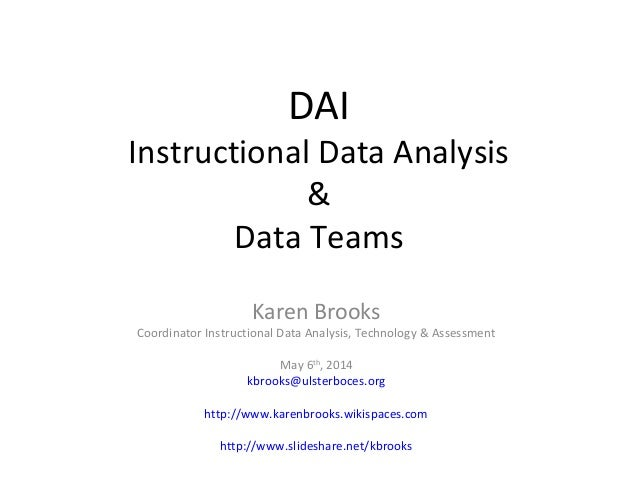 DAI Instructional Data Analysis & Data Teams Karen Brooks Coordinator Instructional Data Analysis, Technology & Assessment...