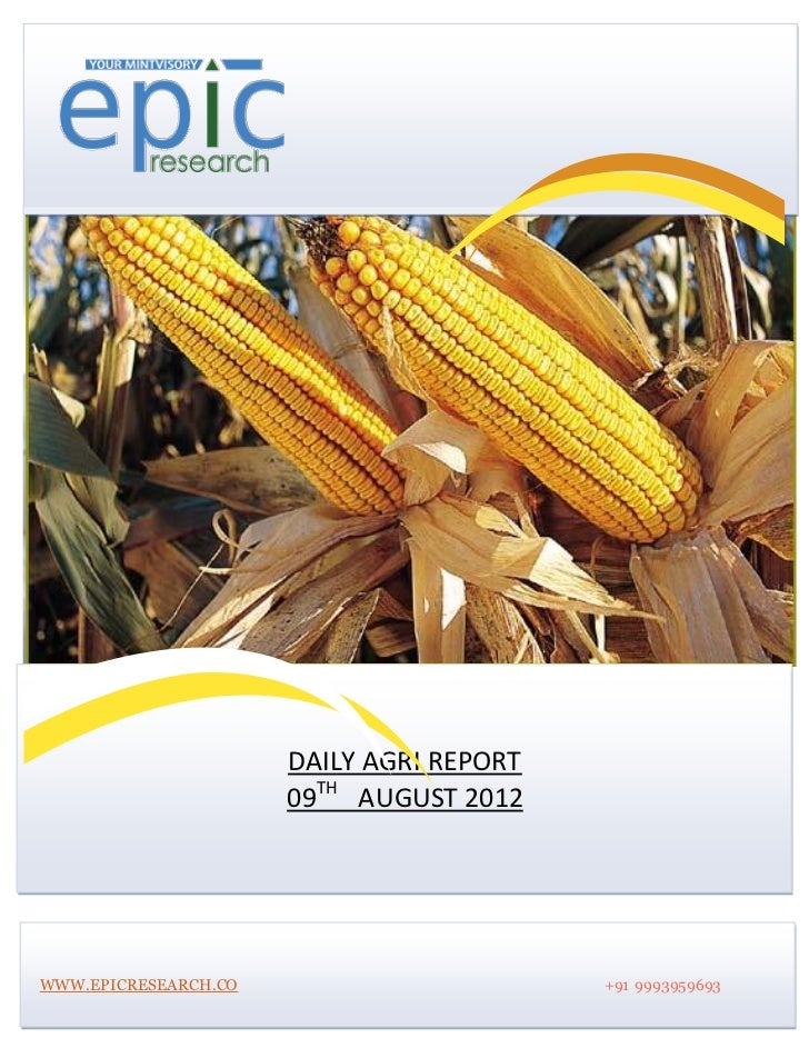 DAILY AGRI REPORT                      09TH AUGUST 2012WWW.EPICRESEARCH.CO                       +91 9993959693
