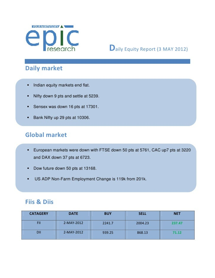 Daily Equity Report (3 MAY 2012)Daily market    Indian equity markets end flat.    Nifty down 9 pts and settle at 5239....