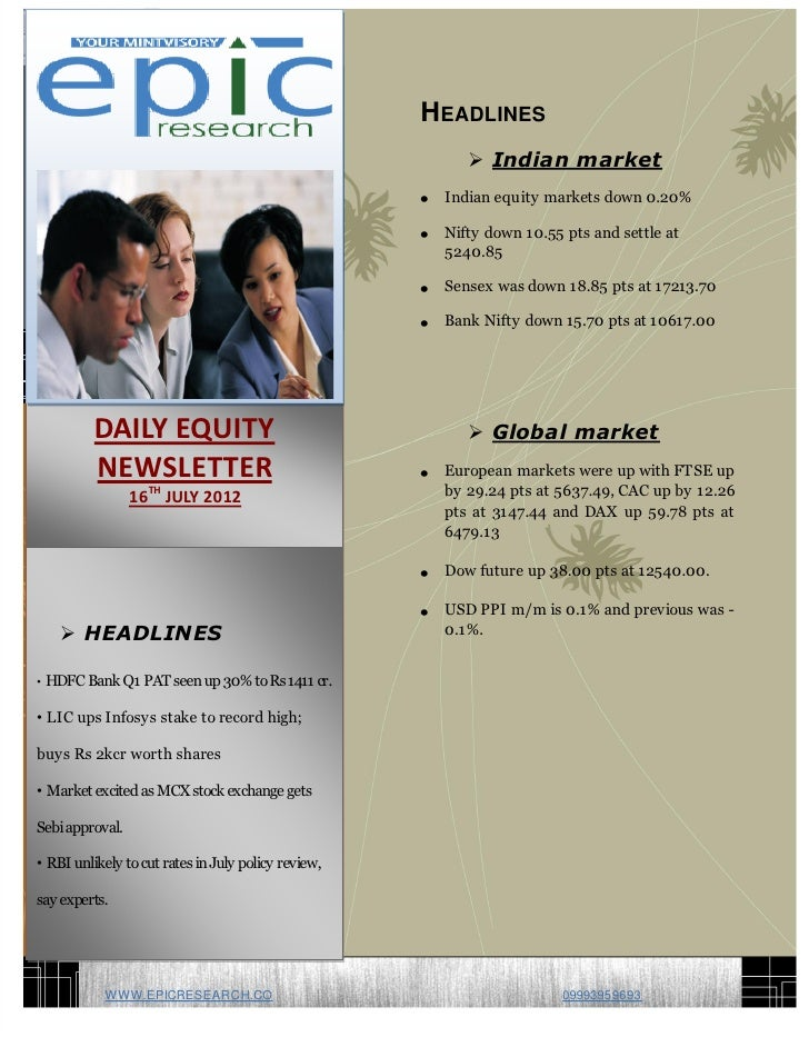 DAILY EQUTY REPORT BY EPIC RESEARCH-16 JULY 2012
