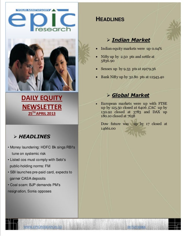 -=6HEADLINES Indian Market Indian equity markets were up 0.04% Nifty up by 2.50 pts and settle at5836.90 Sensex up by ...