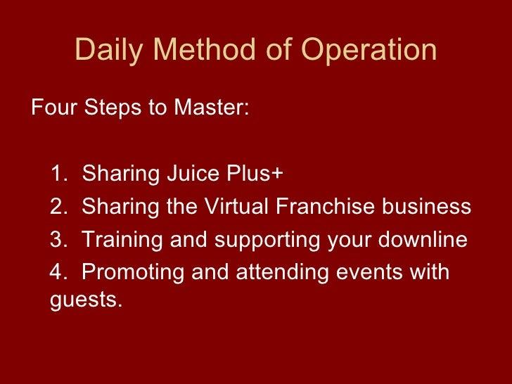 Daily Method of Operation <ul><li>Four Steps to Master: </li></ul><ul><li>1. Sharing Juice Plus+ </li></ul><ul><li>2.  Sha...